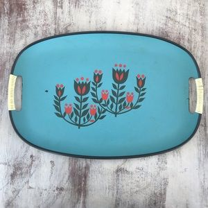 Vintage Turquoise Blue Floral Red Tray Bohemian